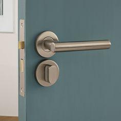Lecco Satin Stainless Steel Rose bathroom door handle