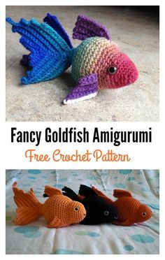 Fancy Goldfish Amigurumi Free Crochet Pattern. Straight to pattern: http://www.ravelry.com/patterns/library/fancy-goldfish-amigurumi