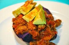 Beanless Chili Loaded Sweet Potato