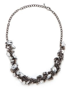 When can over-the-top be oh-so-chic? When it's a statement necklace like this, which features a chaotic mix of white-ice crystals jumbled together for a supremely stylish look.