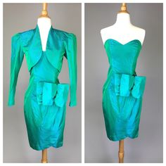 The Fantabulous - 80s Prom Dress Emerald Green 2 Piece Outfit Cocktail Party Vintage Costume Womens Size Small by RIPandROSE on Etsy