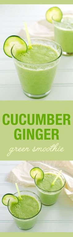 Cucumber Ginger Green Smoothie - a fresh and soothing vegan and dairy free recipe | VeggiePrimer.com