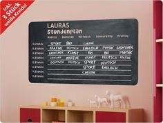 Stundenpläne - ♥ Tafelfolie Stundenplan (Nr.2) ♥ 11201 - ein Designerstück von I-love-Wandtattoo bei DaWanda
