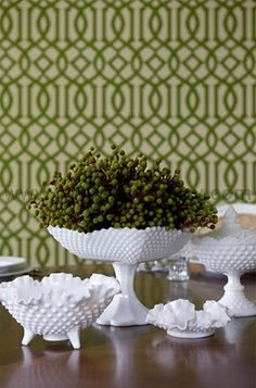 Hobnail glass is popping up everywhere. Maybe we can thank EDDIE ROSS (his table above) since he makes it look so hip and contemporary on. Antique Dishes, Vintage Dishes, Vintage Glassware, Vintage Plates, Vintage Vanity, Antique Glass, Vintage Kitchen, Glass Dishes, Glass Bowls