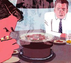 焼肉 #yakiniku #bbq #illustration #tatsurokiuchi #art #japan #businessman #food