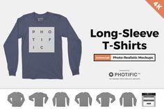 Long Sleeve T-Shirt Apparel Mockups by Photific on Creative Market Shirt Mockup, 4k Hd, Photoshop Design, Business Card Logo, Custom T, Cool T Shirts, Long Sleeve Tees, Sleeves, Mens Tops