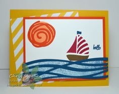 "2016  My card is inspired by the thought of sunny seas, and I am using ""Swirly Bird"" and the coordinating Swirly Scribbles Thinlits.  The greeting is from ""Thoughtful Banners""."