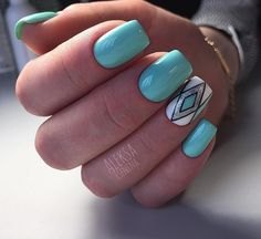 Blue, White, Black and Silver Geometric Nail Art Design. The silver, the sky, the white, the black, all the colors and the patterns in this geometric nail art designs are just wow.