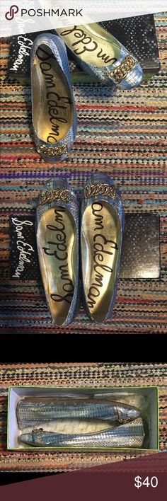 Sam Edelman Ballet Flat Blue and gold metallic ballet flat with chain detail on the toe. Lightly worn and in great condition. Sam Edelman Shoes