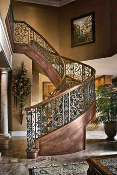 I Love Unique Home Architecture. Simply stunning architecture engineering full of charisma nature. Grand Staircase, Staircase Design, Wrought Iron Staircase, Tuscan Decorating, Interior Decorating, Decorating Ideas, Casa Magnolia, Escalier Design, Stair Railing