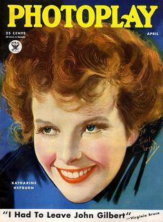 "Katharine Hepburn on the cover of ""Photoplay"" magazine, April Illustration by Earl Christy. Star Magazine, Movie Magazine, Old Magazines, Vintage Magazines, The Philadelphia Story, John Gilbert, Rolf Armstrong, Katharine Hepburn, Hollywood"