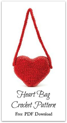 Here is a crochet pattern for a heart bag made in Lion Brand®️️ Chenille Thick & Quick®️️ and Homespun®️️ yarn. Free Digital PDF download #ad #affiliate #crochet #pattern #valentinesday