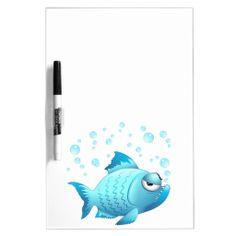 Grumpy Fish Cartoon Dry Erase Whiteboard