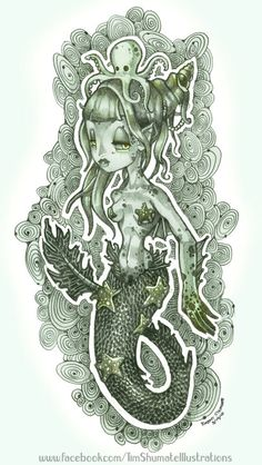 I want the little octopus on her head as a tattoo on my wrist aread near my heart tat. Just like how his far right tentacle is around the little heart near her shell hat. Heart Tat, Mermaid Cove, Octopus Mermaid, Mermaid Art, Tatuagem New School, Little Octopus, Some Beautiful Pictures, Unique Tattoos, Fantasy Creatures