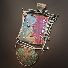 Robert Lopez Designs: Titanium, Argentium, Sterling Silver and Mine Turquoise Pendant Enamel Jewelry, Pendant Jewelry, Jewelry Art, Jewelry Design, Silver Jewellery, Geek Jewelry, Jewellery Shops, Gothic Jewelry, Jewelry Necklaces