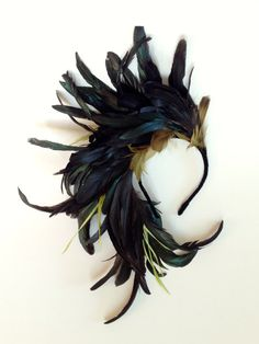 Midnight Flight oversized Fascinator Feather Headpiece by katieburley Feather Headpiece, Feather Headband, Fascinator Hats, Fascinators, Headband Hair, Headpieces, Bird Costume, Raven Costume, Love Hat