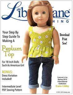 Peplum Top 18 inch Doll Clothes Pattern PDF Download | Pixie Faire