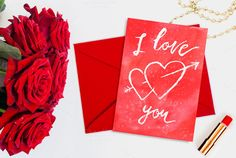#Valentines card I love you by Romantic shop on Creative Market