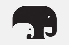 love designs like this one that use the interplay of a dark and light contrasting/opposing color for positive and negative space to creat their design images that are interchangeable and as clever as this one is., this one is wonderfully done. plus, I love elephants