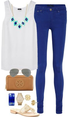 Royal Blue by thegingerprep featuring a tory burch wallet ❤ liked on PolyvoreJoseph top / dVb Victoria Beckham cobalt blue jeans / Jack Rogers sandals / Tory Burch  wallet / Michael Kors logo watch / Tory Burch earrings / J.Crew lightweight sunglasses