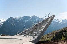 Mountainside platform by Code Arkitektur creates three vertiginous viewpoints