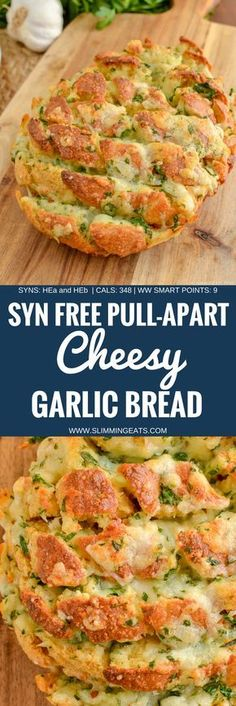 go crazy for this Syn Free Pull-Apart Cheesy Garlic Bread - a perfect sharing side or party appetizer. This week I had serious cravings for Garlic Bread. Gluten Free, Vegetarian, Slimming World and Weight Watchers friendly. Slimming World Garlic Bread, Slimming World Dinners, Slimming World Recipes Syn Free, Slimming Eats, Slimming World Starters, Slimming World Syn Calculator, Slimming World Taster Ideas, Aldi Slimming World Syns, Slimming World Cake