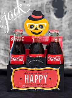 Our partner, Hostess with the Mostess, shows us how to create this fun DIY Coke bottle hostess gift idea sure to wow at your next Halloween party.