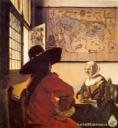 between - Vermeer - Johannes Vermeer - The soldier and the laughing girl - (De Soldaat en het lachende meisje) - Oil on canvas x 46 cm. - Frick Collection, New York Johannes Vermeer, Vermeer Paintings, Oil On Canvas, Canvas Art, Painting Prints, Art Prints, Framed Prints, Dutch Golden Age, Art History
