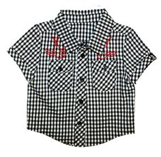 Baby Boys Black White Checked Embroidered Swallow Shirt Rockabilly Punk Sourpuss