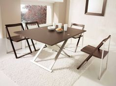Simple folding dining table ideas for small spaces with stainless steel table legs | Decolover.net