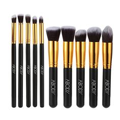 -55%.  Abody 10 pezzi Set di Pennelli Make up Professionale Cosmetico per Nero e Oro