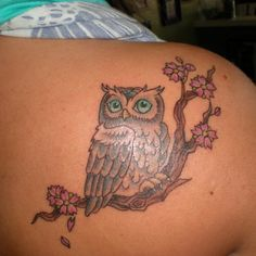 Owl, back tattoo on TattooChief.com