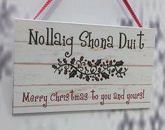 Irish Merry Christmas Sign Decoration, Christmas Gift, Ireland, Handmade, Cute