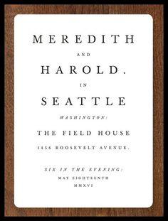 Book title page wedding invitation
