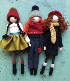 Christmas dolls by Sarah Strachan. Redhead Art, Miniature Dogs, Jim Henson, Vintage Fabrics, Fashion Labels, Paint Designs, Puppets, Mittens, Red Hair
