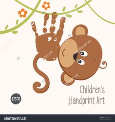 stock-vector-handprint-monkey-climbing-in-the-jungle-and-smiling-hand-painted-monkey-children-handprint-art-339973616.jpg (1500×1600)