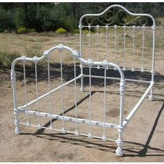 Vintage Love / Antique Ornate Iron Bed With Brass Trim