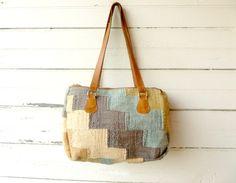 Vintage Woven Textile /  Carpet Bag /  with Leather Straps - Vintage Darling