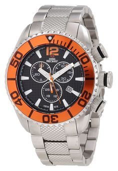 Swiss Precimax Men's SP12175 Deep Blue Pro II Orange Dial with Silver Stainless Steel Band Watch *** Click on the image for additional details. (This is an Amazon Affiliate link)
