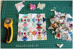 Paper pieced 3″ Pineapple Log Cabin Block Mini Quilt Progress : Free paper piecing template   A video !