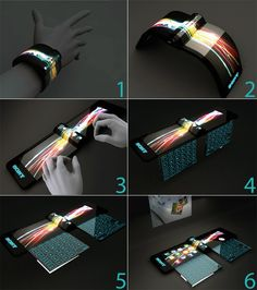 Another concept phone from Sony. Looks like that bracelet from Cowboys vs. Aliens.
