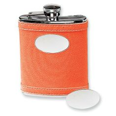 Stainless Steel Faux Leather Orange Flask Jewelry Adviser Gifts. $31.25