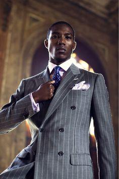 ♂ Masculine and elegance - man's fashion wear grey Pinstripes!