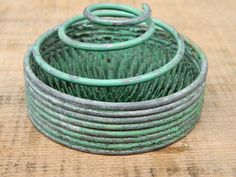 Vintage Green Flower Frog / Metal Coiled by QuirkyCrowsVintage, $28.50