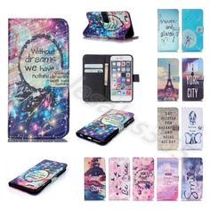 Stand Feature Card Wallet Case Synthetic Leather Magnet Cover For iPhone Samsung