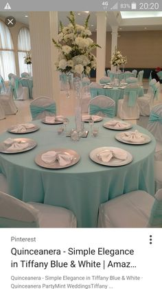 Quinceanera - simple elegance in Tiffany Blue & White Informations About Turquoise Wedding Inspi Tiffany Blue Weddings, Tiffany Theme, Tiffany Party, Tiffany Wedding, Tiffany Blue Quince, Quince Decorations, Quinceanera Decorations, Quinceanera Party, Tree Decorations