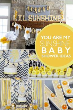 "Planning a baby shower? Give mom-to-be a reason to grin with a ""You are My Sunshine"" themed baby shower. Bright and cheery décor and refreshments w… – Baby Shower Invitation Baby Shower, Baby Shower Party Favors, Baby Shower Parties, Baby Shower Gifts, Invitation Ideas, Themed Baby Showers, Baby Favors, Fiesta Baby Shower, Baby Shower Yellow"