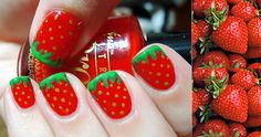 Strawberry nail art.  Yum!  Just use a dotting tool for the seeds and free hand the stem.  Easy peasy!