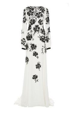 OSCAR DE LA RENTA Embroidered Silk Long Sleeve Gown on Moda Operandi