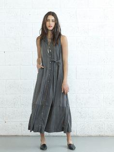 שמלת מקסי מעטפת אפורה   נפתול